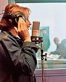Female singer in recording studio