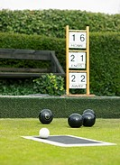 Bowling Balls on a Bowling Green and a Socreboard
