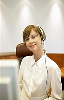 Portrait of a Young Telephonist Wearing a Headset