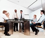 Business Executives Meeting Around a Table, in a Conference Room