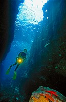 Cave and diver, Mediterranean Sea