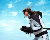 Side View of a Female Skier