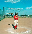Boy Ready to Bat on Baseball Diamond Moncton New Brunswick