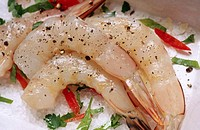 Nutrition, food: green prawns ready for cooking