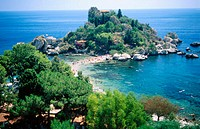 Isola Bella island and beach. Taormina. Sicily, Italy