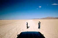Couple lost in desert. Black Rock Desert. Nevada. USA