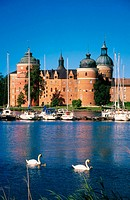Gripsholms castle with guest harbour. Mariefred. Sweden