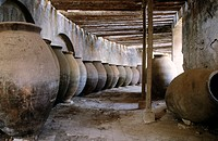Jars in the interior of the Real F&#225;brica de Pa&#241;os de Carlos III. Brihuega. Guadalajara province. Spain