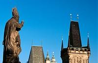 Statue on Charles Bridge. Prague, Czech Republic