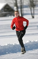 jogging, , mountains, running, snow, sports, Alps, winter, winter sports, woman, Europe