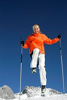 jump, , mountains, Nordic Walking, Nordicwalking, running, snow, sports, sticks, Alps, walking, winter