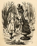 Alice and the Red Queen. Illustration by Sir John Tenniel, 1820-1914. From the book 'Through the Looking-Glass and What Alice Found There' by Lewis Ca...