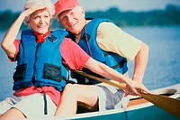 Senior couple in a row boat