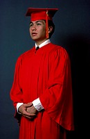 Young man wearing a graduation outfit