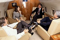 Business executives together in an airplane