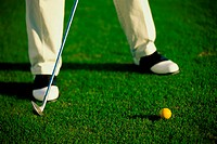 Low section view of a person playing golf