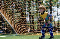 Goalie standing in the goal