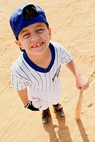 High angle view of a boy from a little league baseball team