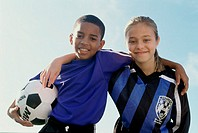 Portrait of a boy and girl from a soccer team