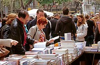 Book stall during Sant Jordi festival. Barcelona. Spain