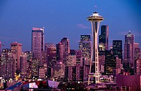 Space Needle and downtown skyline, Seattle. Washington, USA