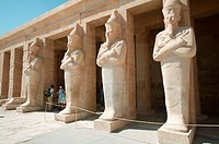 Statues guard the entrance of Deir el-Bahri (Mortuary Temple of Hatshepsut