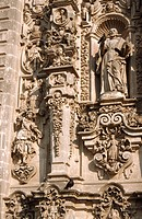 Fragment of façade of cathedral, Tepotzotlan, Mexico.