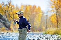 Man fly fishing on the Big Wood River in Sun Valley, Idaho. USA