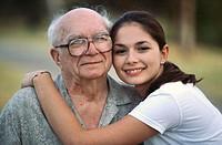 Hugging grandpa