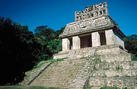 Well-preserved roof comb of the Temple of the Sun, one of many ancient ruined Mayan temples in the jungle at Palenque, Chiapas, Mexico