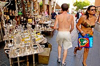 Tourists visiting the village of Taormina. Sicily. Italy