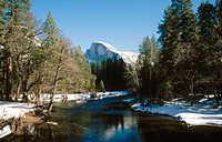 Winter. Yosemite National Park: Half Dome and Merced River. California. USA