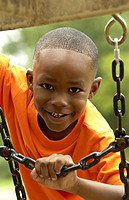 African American boy on playground