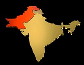 map of India, Pakistan