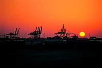 Sunset over Port Rashid in Dubai, UAE