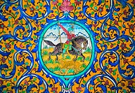 Ornaments and Paintings on tiles in Golestan Palace Museum, Iran