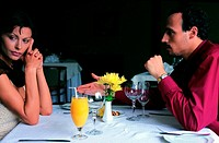 couple arguing in a restaurant