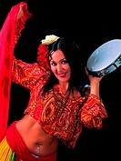 belly dancer with a tambourine