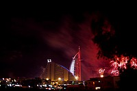 Fireworks at Burj Al Arab on New Year's Eve 2005, Dubai, UAE