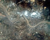 Dresden floods. Satellite image of the swollen River Elbe flooding the city of Dresden, Germany. This is an example of the severe flooding that affect...