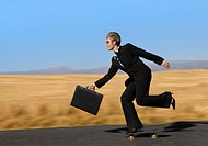 Businesswoman Riding on a Skateboard and Holding a Briefcase