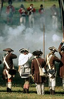 Continental soldiers 'fire'on British soldiers at Brandywine Battlefield Park. Pennsylvania. USA