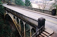The bridge at Shepherd's Dell waterfall area in the Columbia River Gorge National Scenic Area. Old HWY30. Oregon. USA
