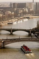 Veiw of the Seine River from Notre Dame. Paris, France