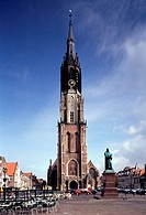 Delft, Nieuwe Kerk/Blick über den Marktplatz