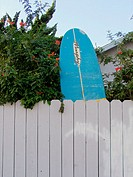 Surf board in a backyard. Ocean Beach, San Diego. California. USA