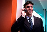 businessman telephoning, inside