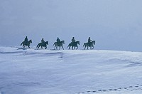 italy, veneto, monte novegno, riding in the snow