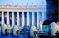 St Peters square in Vatican by Bernini and fountain being cleaned. City of Rome. Lazio. Italy
