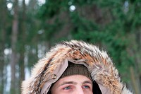 Man wearing a furry hood